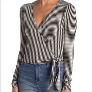 PST Project Social T Wrap Crop Top Striped…